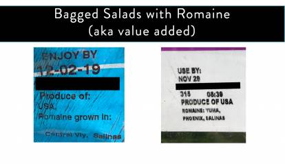 "Romaine Harvest Location Labels for bagged salads.  Two are shown, the first states ""romaine grown in Centrl Vly, Salinas"" the second states ""Romaine: Yuma, Phoenix, Salinas"""
