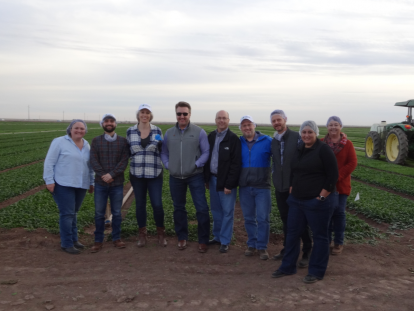 FMI tour group standing in front of a Yuma, Arizona leafy greens field.